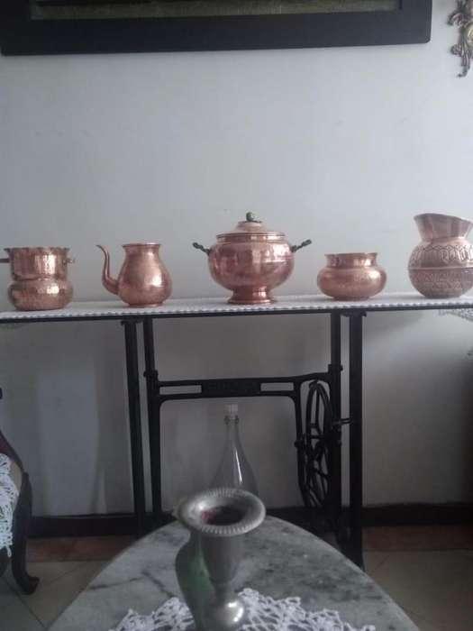 set de 5 olla medianas en cobre rojo