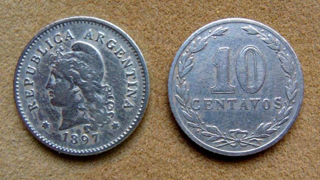 Moneda de 10 centavos Argentina año 1897