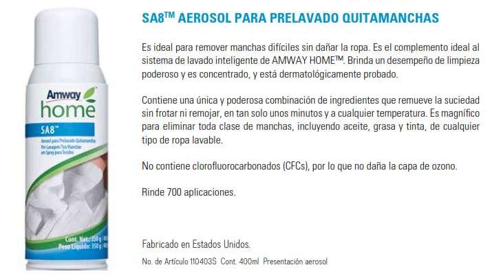 SA8 AEROSOL PARA PRELAVADOQUITAMANCHAS - PODEROSAMENTE LIMPIO & ECOLOGICAMENTE SEGURO