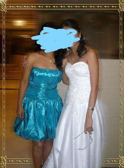 Vestido de novia escote corazón talla small blanco usado