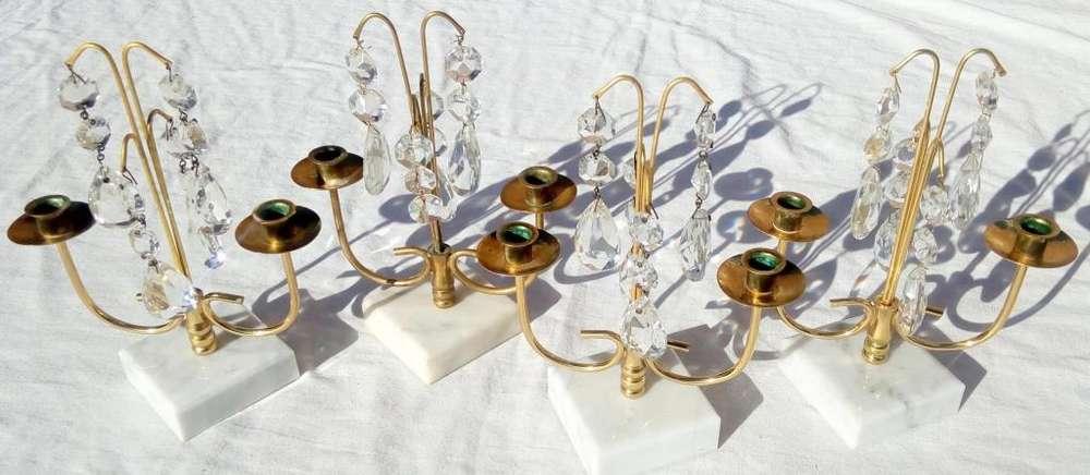 4 Antiguos Candelabros De Bronce Con Caireles Y Marmol