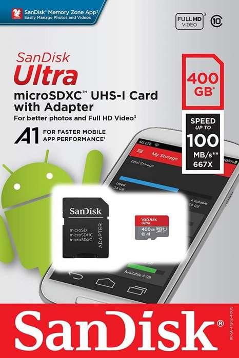 Tarjeta de memoria microSD SanDisk 400 Gb SD celulares tablets video Full HD 128 GB 256 GB