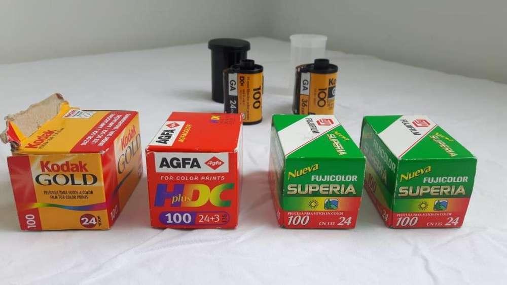 6 Rollos Fotográficos. 24, 27 y 36 fotos a Color ISO 100