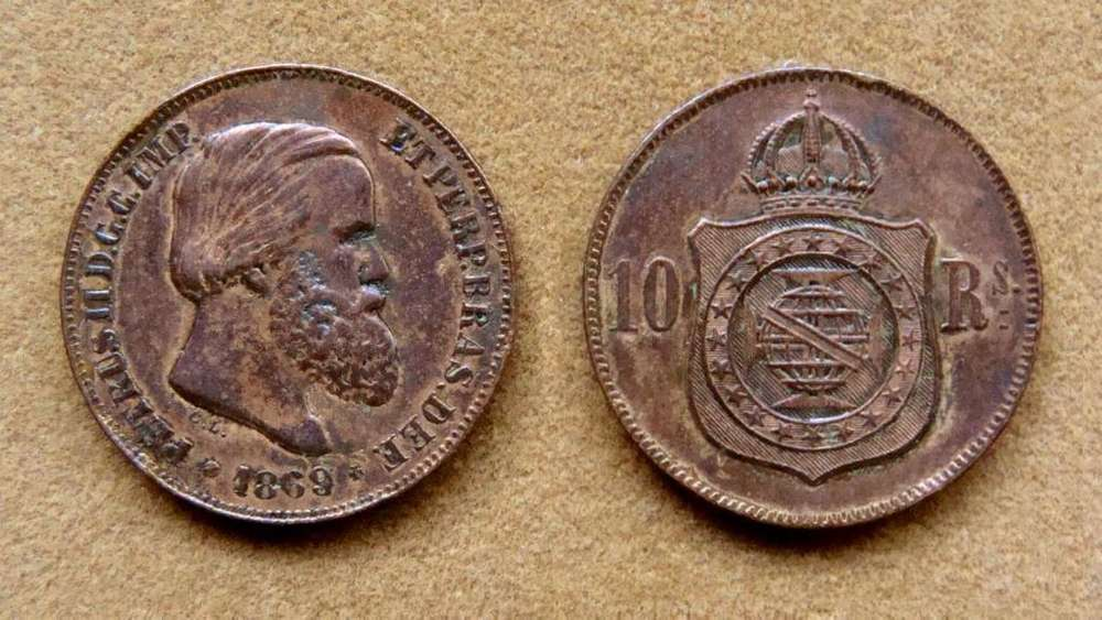 Moneda de 10 reis Brasil 1869