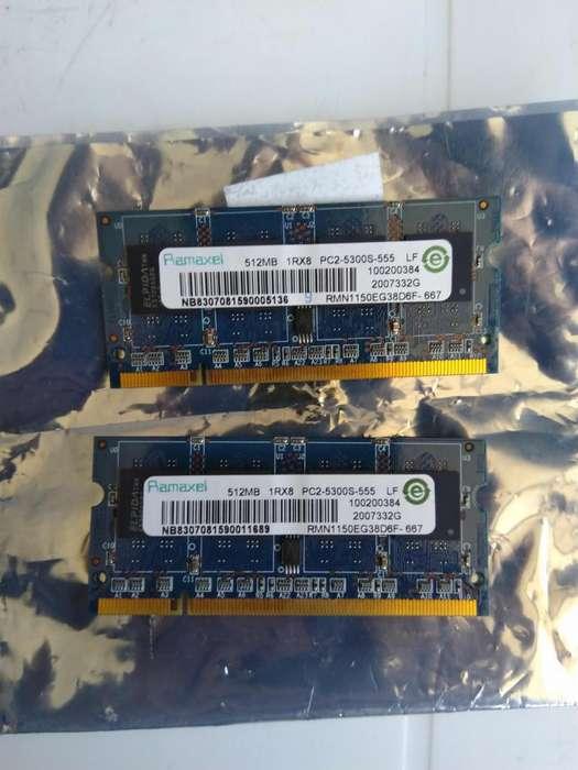 Memoria RAM Laptop DDR2 512Mb c/u 1GB total