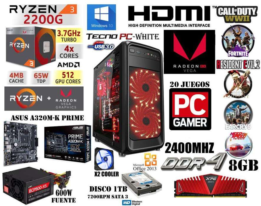 PC GAMER 2 // NUEVA // Ryzen 3 2200g / 1TB /8GB DDR4 Dual / VEGA 3 2GB / 20 JUEGOS