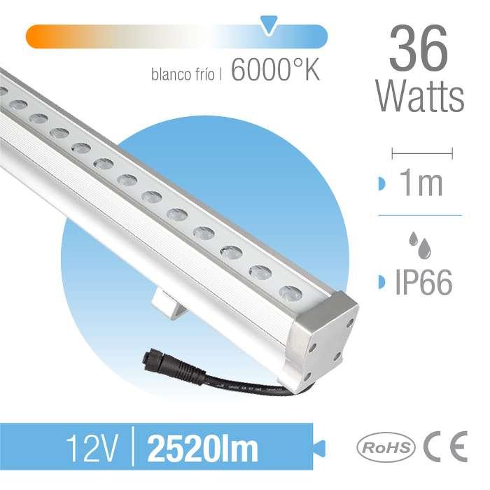 Bañador LED 36W Blanco Frío 6000K 30 12V 36x1W IP66 x1m