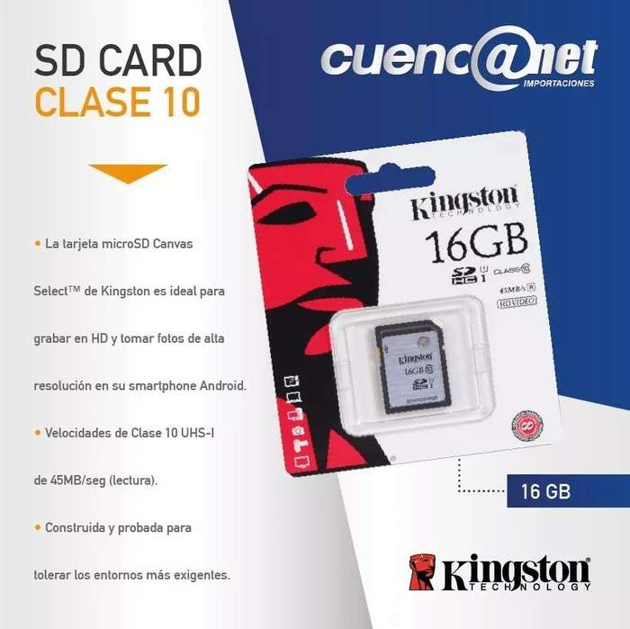 Sd Card Clase 10 32gb 45mb/s Hd Video Kingston