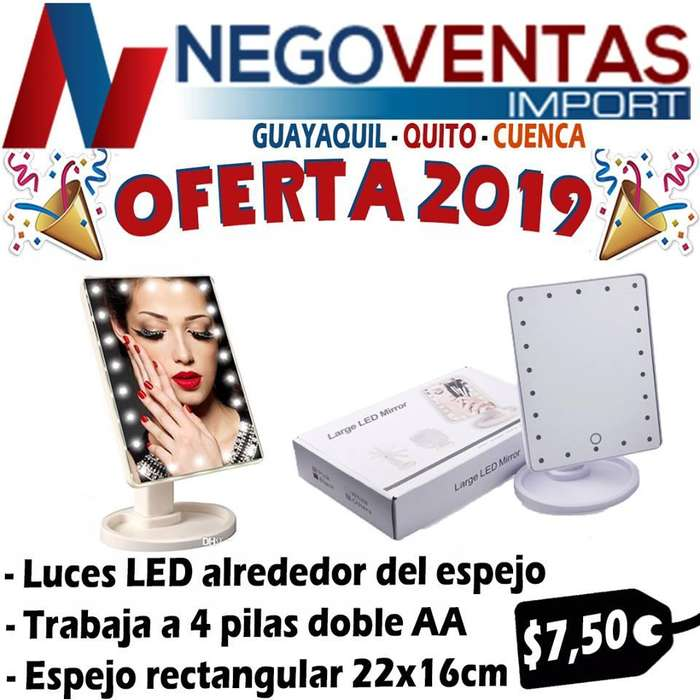 ESPEJO LED COSMETICO MAKE UP MODELO RECTANGULAR LED