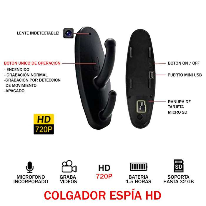 Camara Colgador Espia Perchero Hd 720p Audio Y Video Oculto