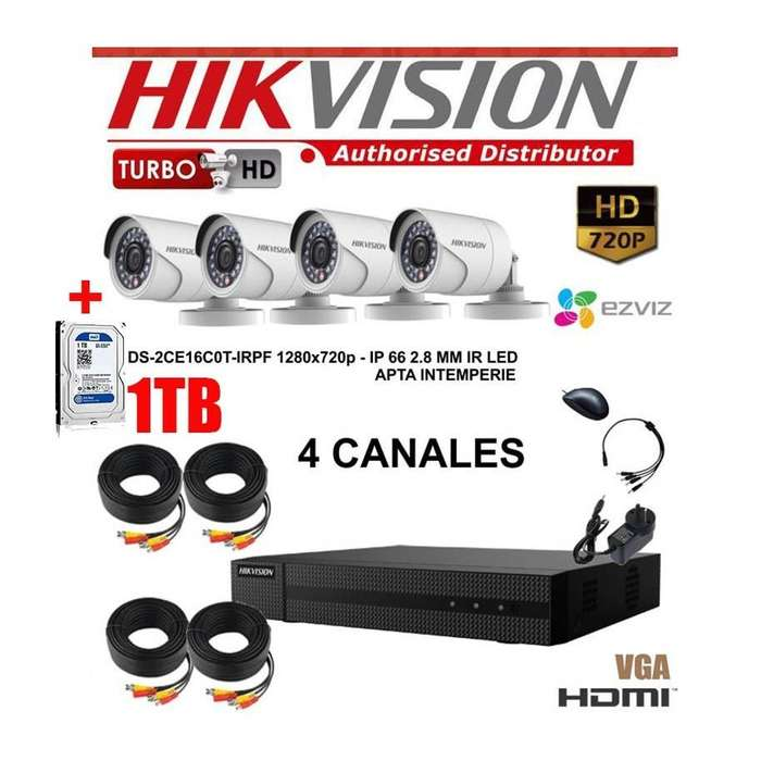 KIT 4 CAMARAS HIKVISION HD DVR TURBO HD 720 CABLES TRASNFORMADOR DISCO 1TB