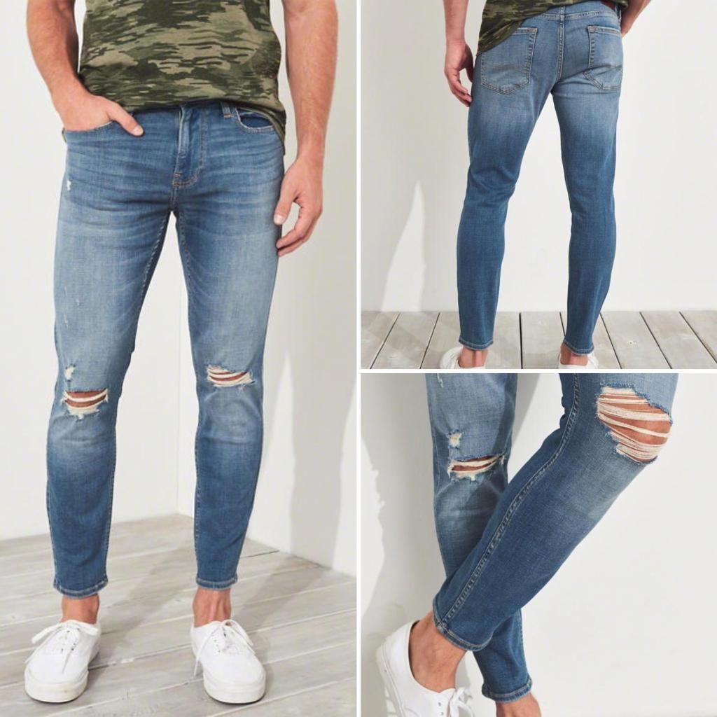 e00bdfe1b7 Pantalon Jeans Hollister Crop Super Skinny Advanced Stretch Talla 32 Para  hombre