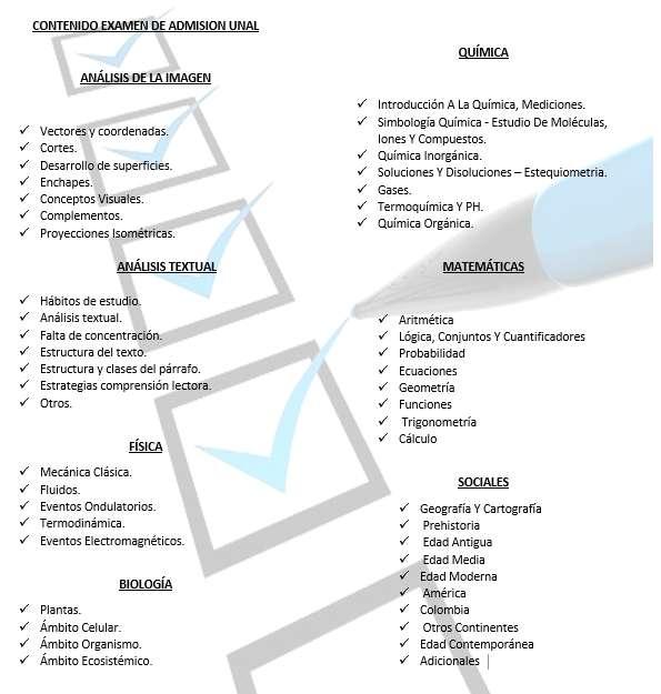 CLASES PARTICULARES PARA EXAMEN DE INGRESO A LA UNIVERSIDAD NACIONAL, PRE UNAL