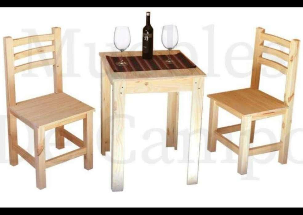Mesa de Bar 60x60 2 <strong>silla</strong>s Curvo