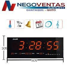 RELOJ LED DE PARED CON TEMPERATURA Y FECHA 18 X 36 CMS