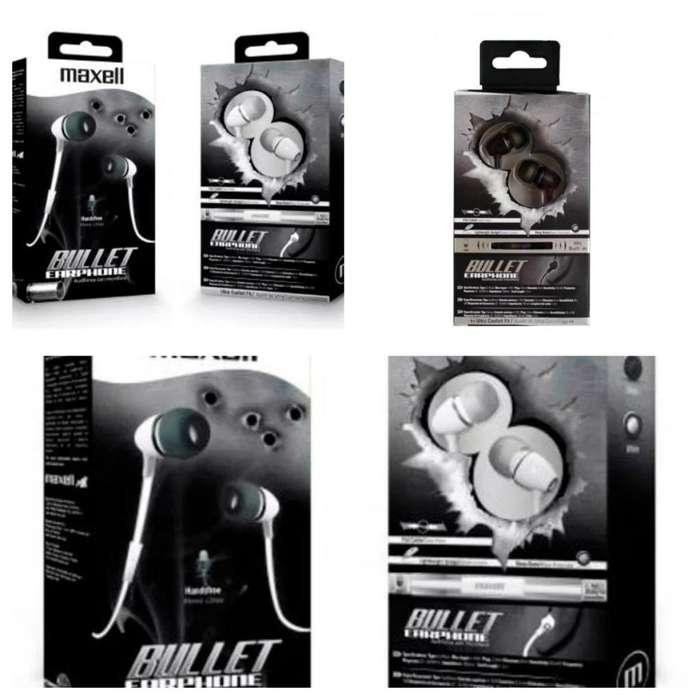 MANOS LIBRES MAXELL BULLET METAL. CHUPA, CABLE PLANO. 2 COLORES