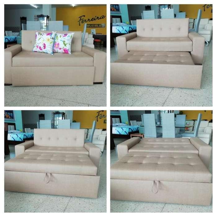 Sofa cama con descansa pies