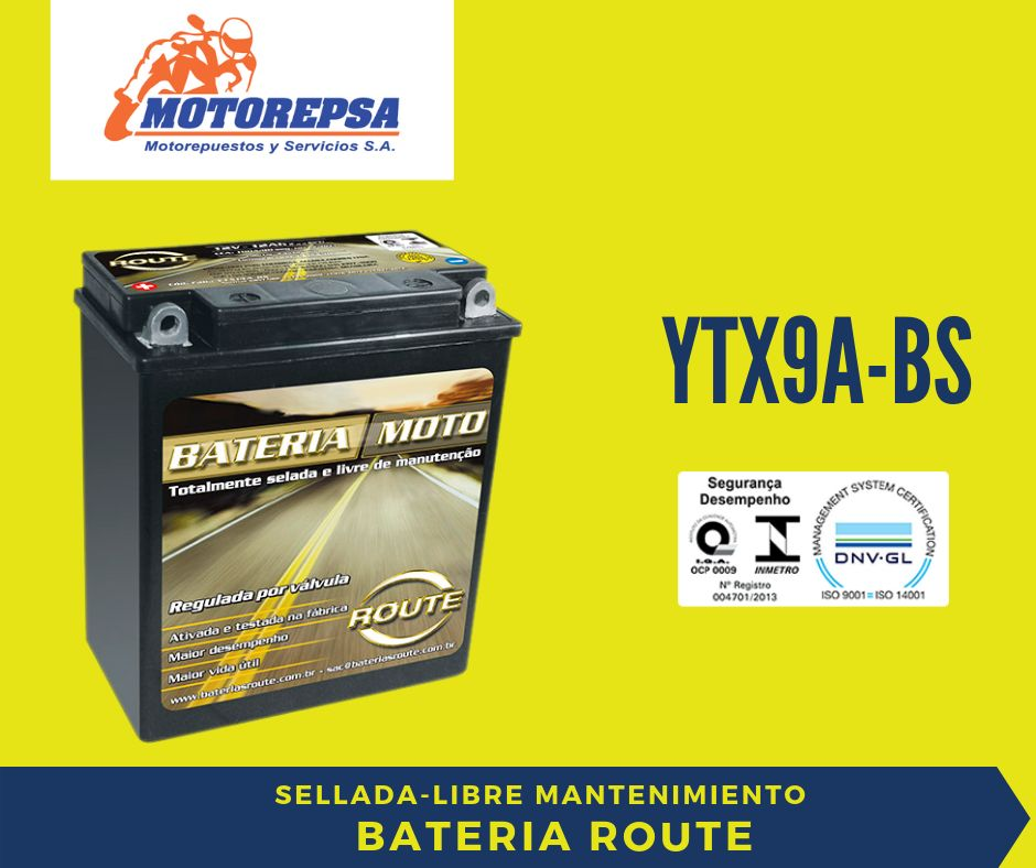 Bateria MOTO marca ROUTE YTX9ABS / 12v8Ah