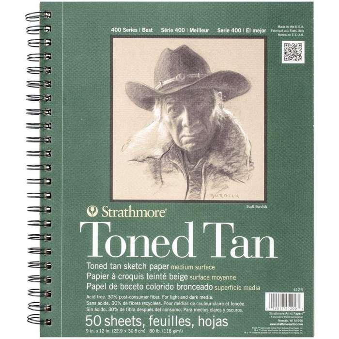 Strathmore 400series Toned Tan Sketch 9x12 Arte Profesional, no canson watercolor marker colored pencil bristol