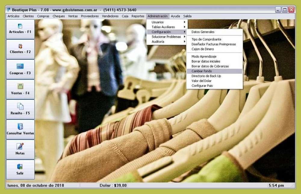 *' BOUTIQUE Plus 7 '* Programa de gestión indumentaria - factura ELECTRÓNICA - software GDS SISTEMAS