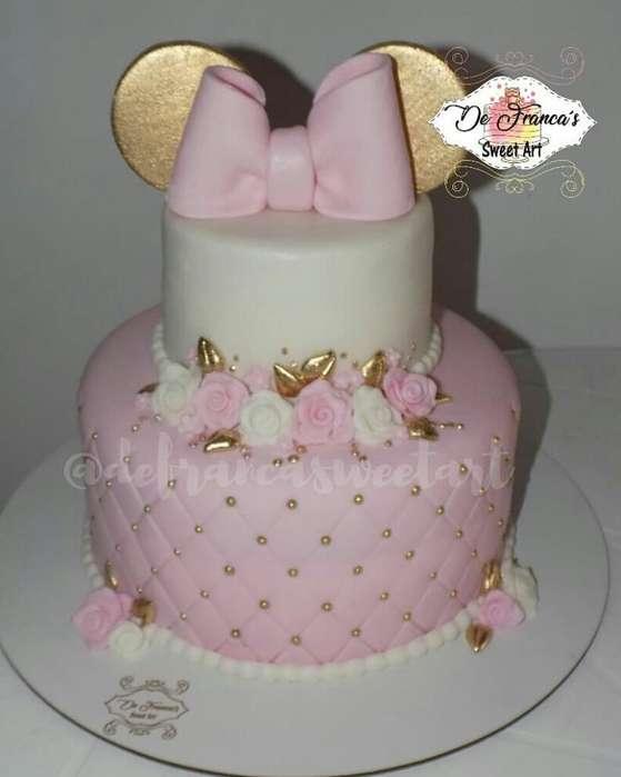 Torta Minnie Cumpleaños Rosada