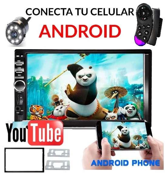 RADIO PARA CARRO PANTALLA 7 BLUETOOTH USB MIRROR LINK CONTROL AL MANDO BASES Y MARCO CAMARA GRATIS