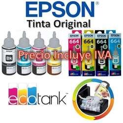 Tinta Original Epson Kit 4 Colores L220, L380, L355, L375, L395, L575, L4150, L4160, L3110 PRECIO INCLUYE IVA