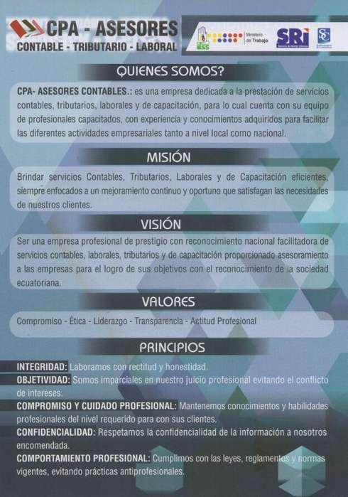 CPA - ASESORES CONTABLES /TRIBUTARIOS/LABORAL