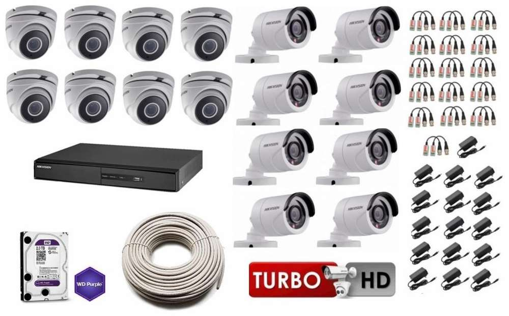 Kit 16 Cámaras Seguridad HikVision HD 720p disco, 2TB COMPLETO