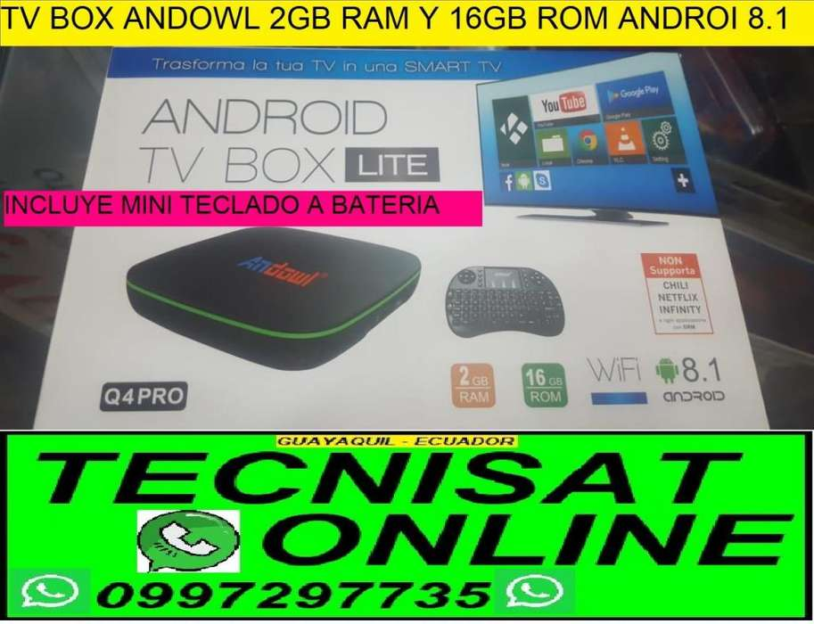 TV BOX 2GB RAM Y 16 MEMORIA INTERNA ANDROI 8.1 TVBOX ANDOWL CONVERTIDOR SMARTV INCLUYE MINI TECLADO
