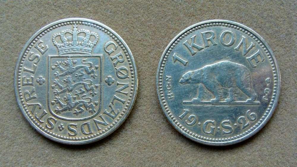 Moneda de 1 corona Groenlandia 1926