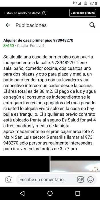 Alquiler de Casa Primer Piso973948270