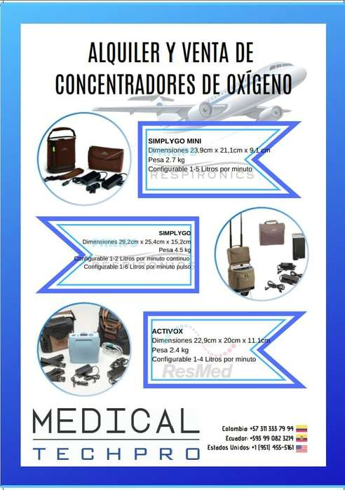 Alquiler y venta de concentradores de oxigeno portátiles