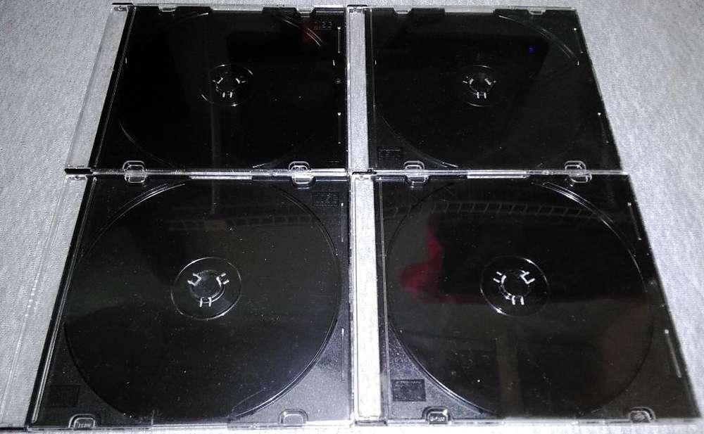 Cajas SLIM Acrílicas usadas para CD DVD BLUERAY tipo Cristal con espacio para folleto. 500 Pesos por unidad