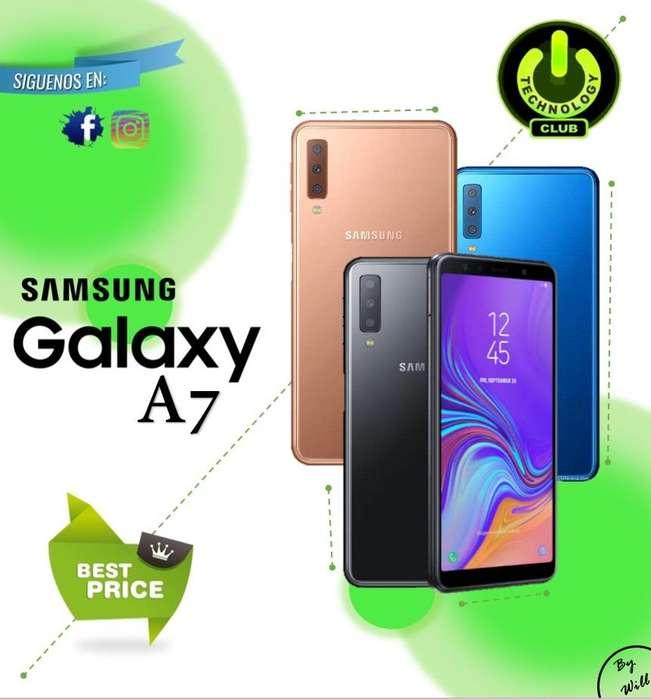 Samsung A7 triple <strong>camara</strong> trasera24/8/5 Mp / Tienda física Centro de Trujillo / Celulares sellados Garantia 12 Meses