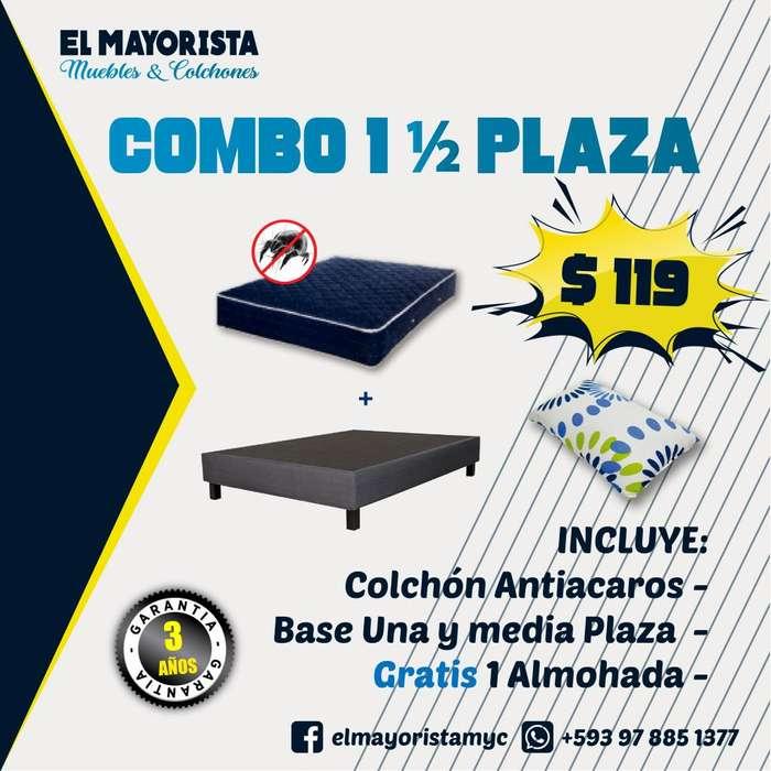COMBO UNA Y MEDIA PLAZAS !! Base MAS Colchón MAS Almohada
