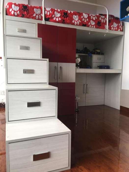 Mueble Multifuncional 4 en 1: Cama - Closet - Escritorio - Cajonera