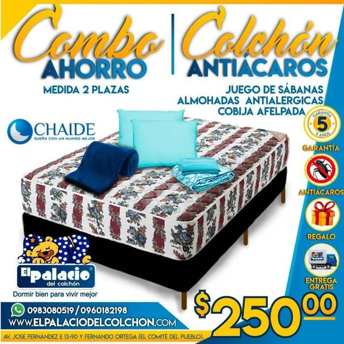((*PROMOCIONES COLCHONES 2 PLAZAS*)) Cama O Base MAS Sabanas, Cobija, 2 Almohadas *ENTREGA GRATIS**LLAME 0983080519*