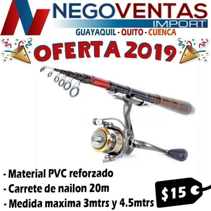 CAÑA DE PESCAR 3 METROS TELESCÓPICA INCLUYE CARRETE HILO NYLON