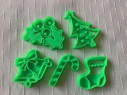 Set Cortadores De Navidad Nuevos 5 Pcs Galletas Fondant 3d