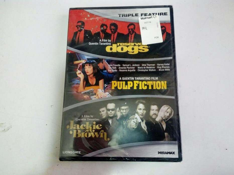 quentin tarantino, trilogia de peliculas en dvd, originales, nuevo sellado!reservoir dogs, pulp fiction, jackie brown!