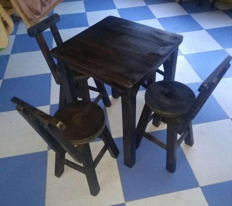 Vendo juego de mesas y <strong>silla</strong>s en madera.