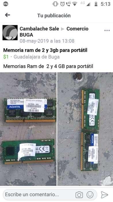Memorias ram para porttil 2 y 4 gb