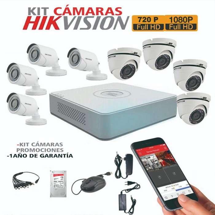 Kit Cámaras de Seguridad hikvision,Domo,tubo,720p,1080p,dvrs,disco duros,cables de instalación