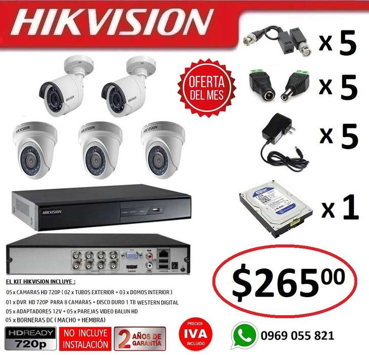 Combo 5 Camaras Seguridad Vigilancia Hd 720p Original Hikvision