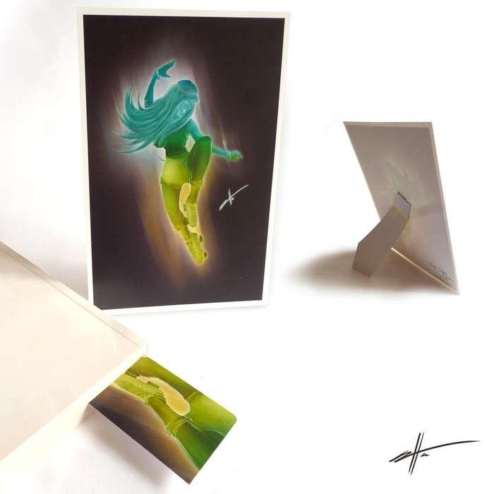 Dibujo impreso decorativo patinadora