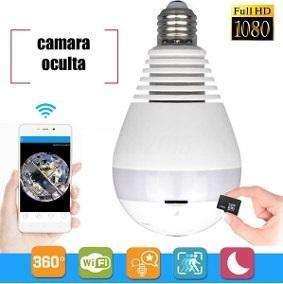 Foco Led Camara Espia Ip 360 Grados Wifi
