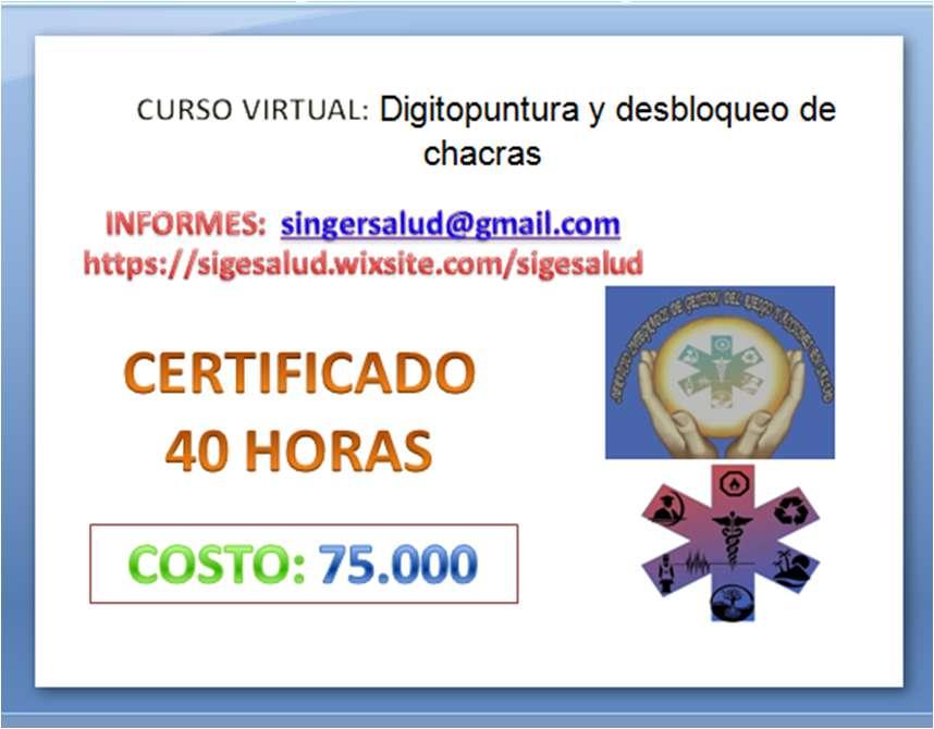 75.000 curso virtual Digitopuntura y desbloqueo de chacras