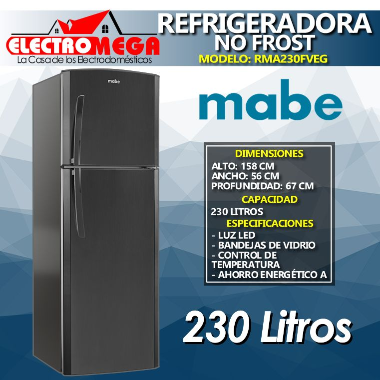 Refrigeradora Mabe 230 Litros Sin Dispensador Color Negro