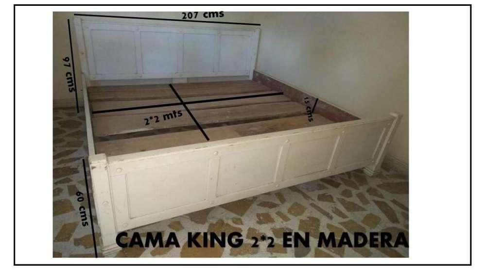 VENDO <strong>cama</strong> KING 2*2 USADA MADERA CEDRO